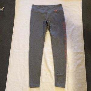 Nike Dri Fit Long Crop Leggings Gray Peach Small
